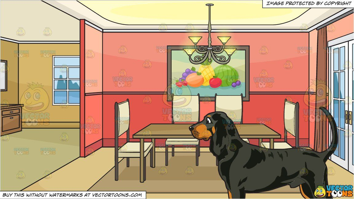 Clipart Cartoon An Attentive Coonhound And Empty Dining Room Background