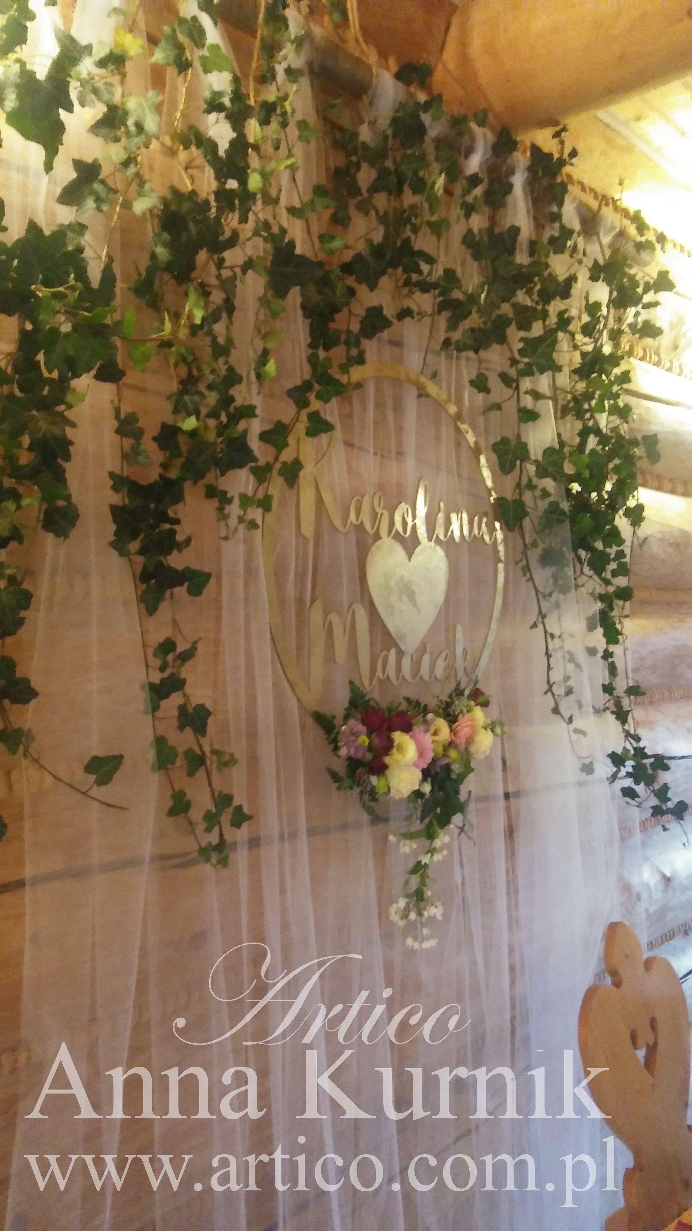 Rustic Wedding ślubne Dekoracje ścianka Za Pm Dla