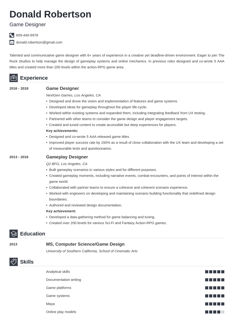 Game Design Resume Template Iconic In 2020 Resume Design Resume Examples Job Resume Examples