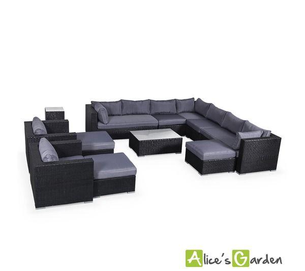 alice 39 s garden salon de jardin en r sine tress e xxl 14 places noir fauteuil canap g ant 1400. Black Bedroom Furniture Sets. Home Design Ideas