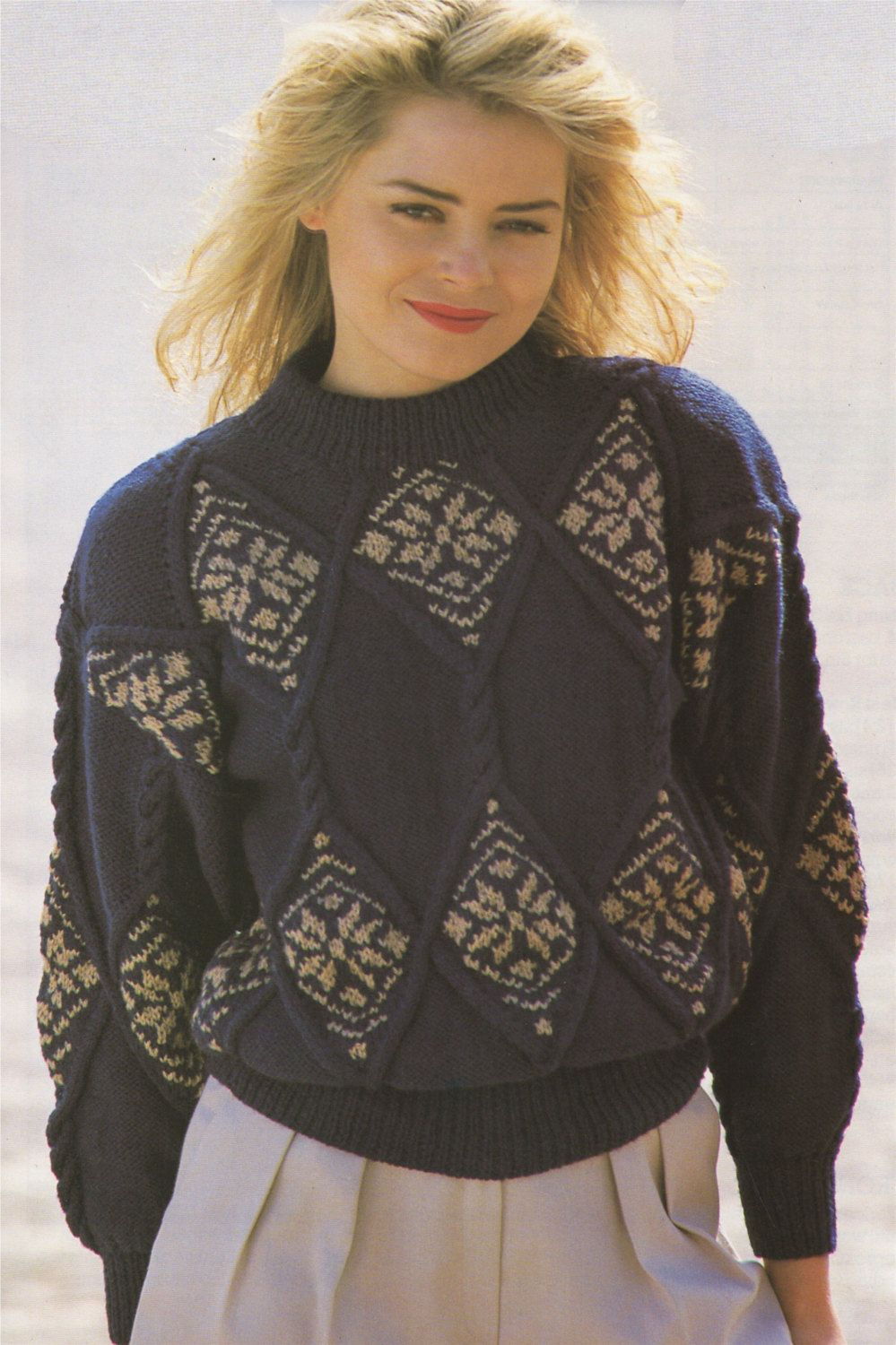 Womens Sweater PDF Knitting Pattern : Ladies 28 - 30, 32 - 34 and 36 ...