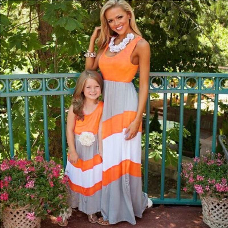83095d5d6e6b Summer Family Matching Outfits Mommy and Me Mother Daughter Dresses Family  Set Maxi Long Dress Mama
