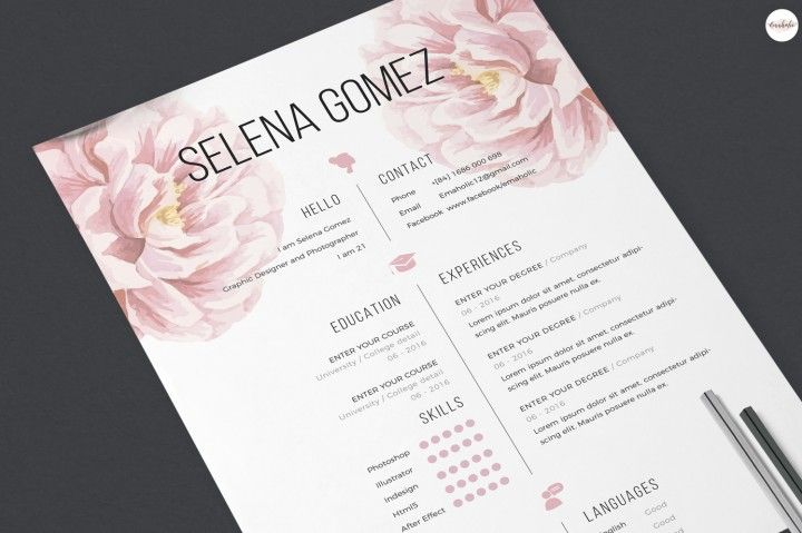 Elegant floral CV and Cover Letter template By Emaholic Templates - download cover letter template
