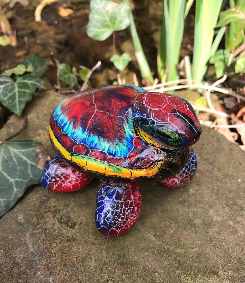 turtle rock sculpture, painted rocks, painted stones, sea turtle, garden decor, bird bath, fairy garden by ARockForAllSeasons on Etsy