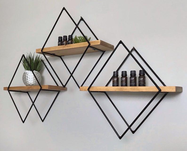 Photo of Custom Mini Diamond Shelf – Diamond Shelf, Geometric Floating Shelf, Modern, Home Decor, Handmade, Wood & Metal, Steel, Wall Decor