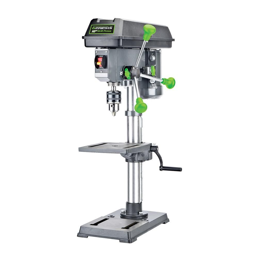 Genesis 10 In 5 Speed Benchtop Drill Press With Light Drill Press Drill Work Lights