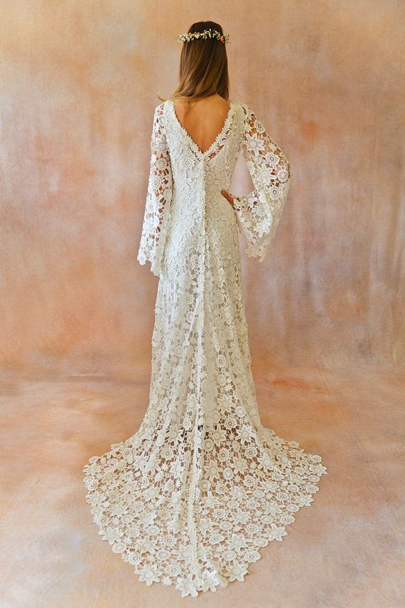 boho wedding dress. bell sleeve simple crochet lace bohemian wedding