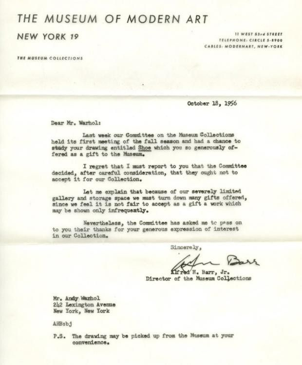 Original Rejection Letters to Andy Warhol Inspiration Pinterest