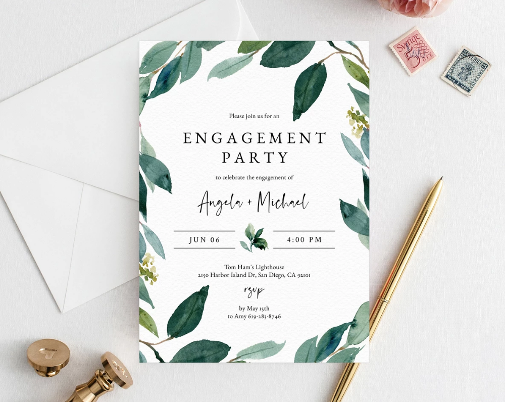 Greenery Engagement Party Invitation Template Printable Engagement Invitation Engagement Invite Editable Template Templett W28 Engagement Invitations Engagement Invitation Cards Engagement Party Cards