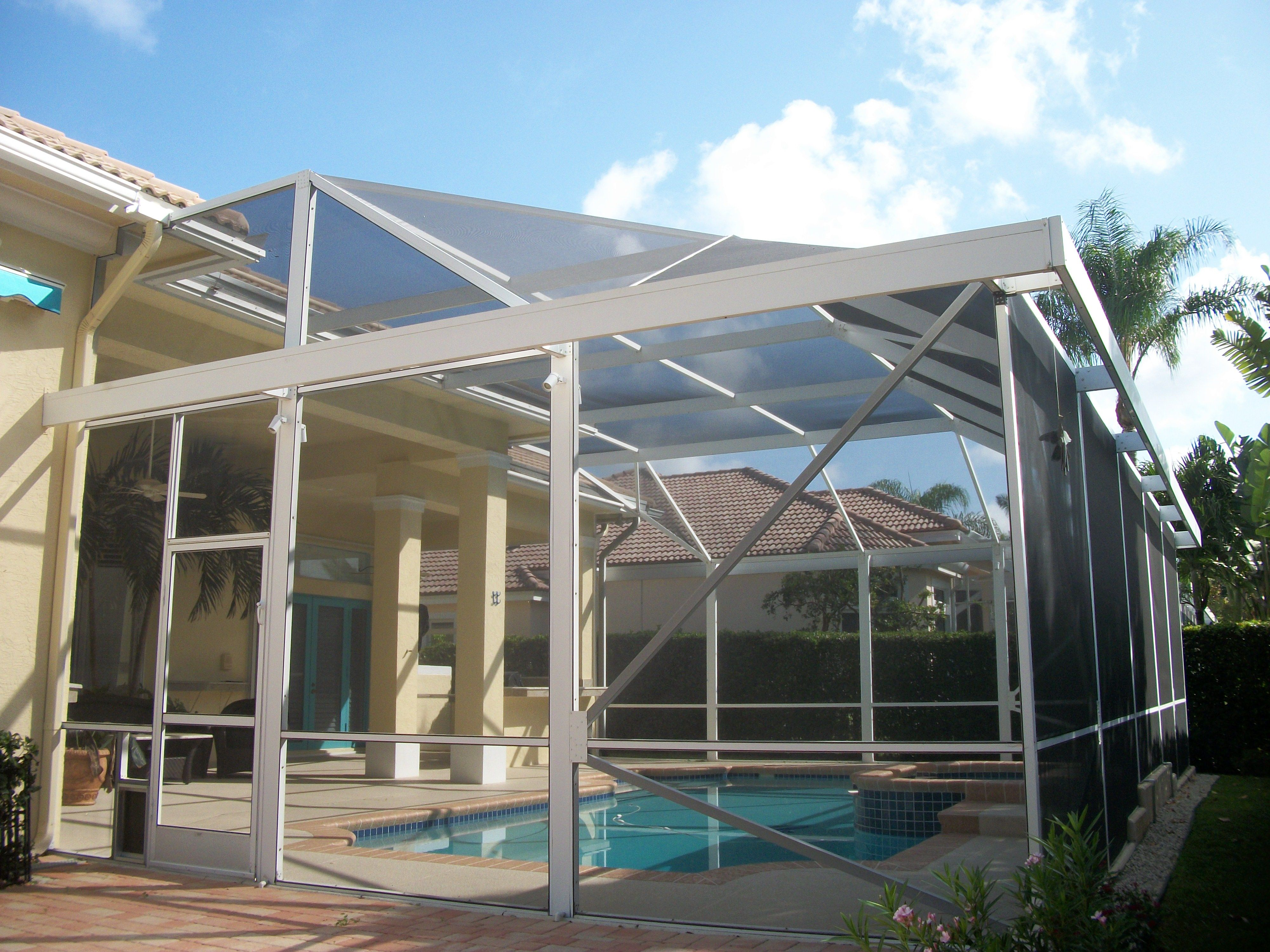Pool Screen Enclosure With Extra Awning Arround The Top Edge For