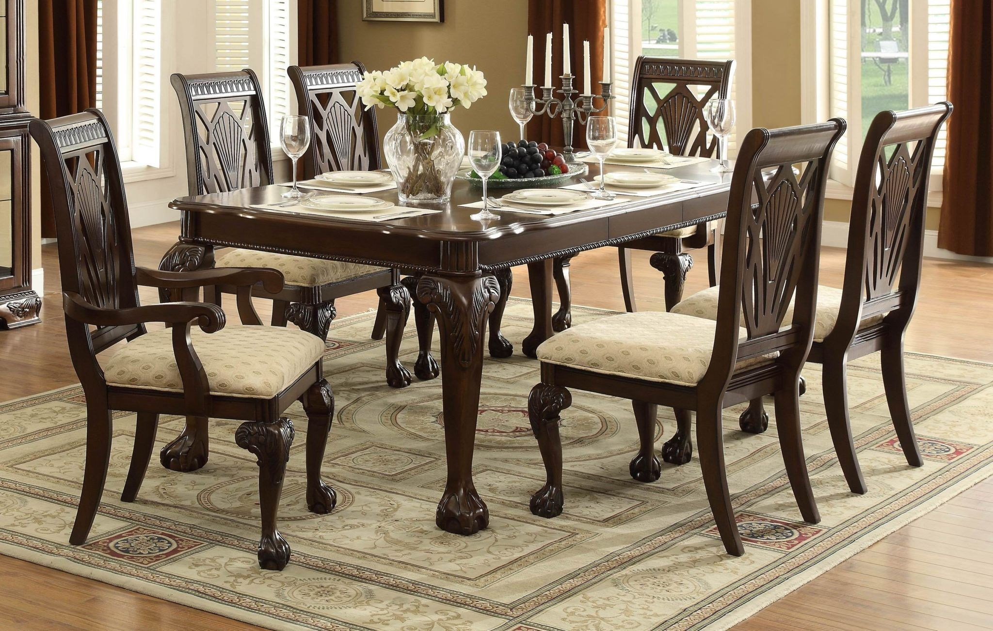 Dark Cherry Traditional 7Pc Cherry Wood Leaf Dining Table Set Inspiration Dark Cherry Dining Room Set Decorating Design