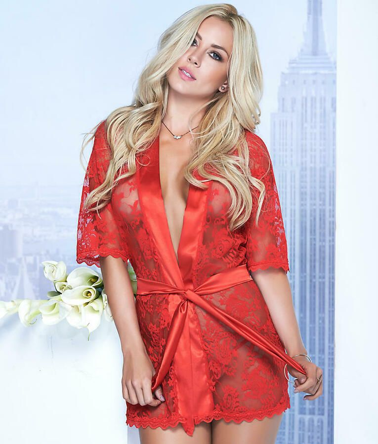 342a7548deb Mapale Lace Robe Matching G-String Set Lingerie - Women's#Robe#Matching#