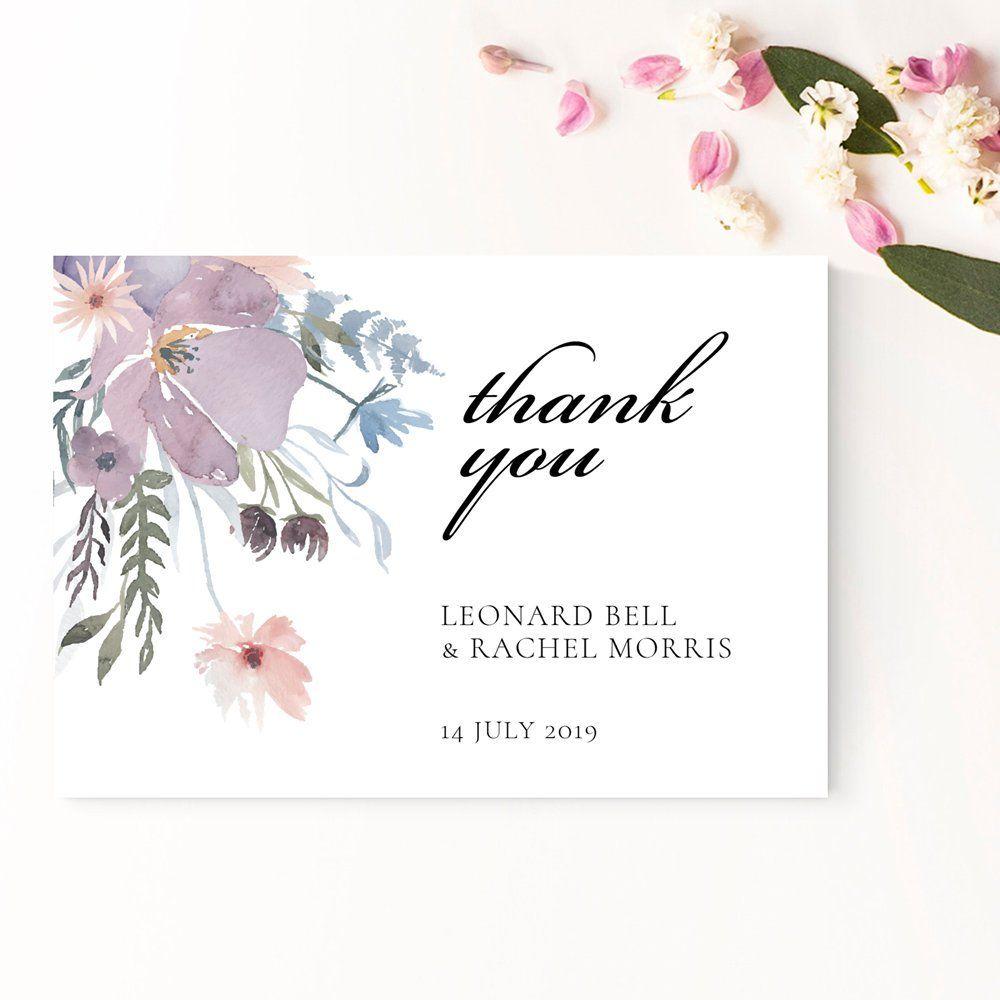 wedding thank you card printable violet floral