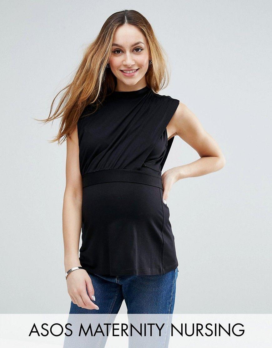 Compra Top de lactancia de cuello alto de ASOS Maternity en ASOS. Descubre  la moda online.