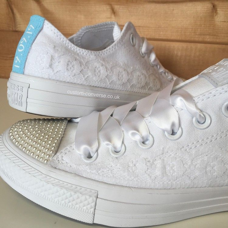 962f7072d522 Bridal White Lace Wedding Converse with Pearl Toes and Blue Personalised  Heel Tags  wedding