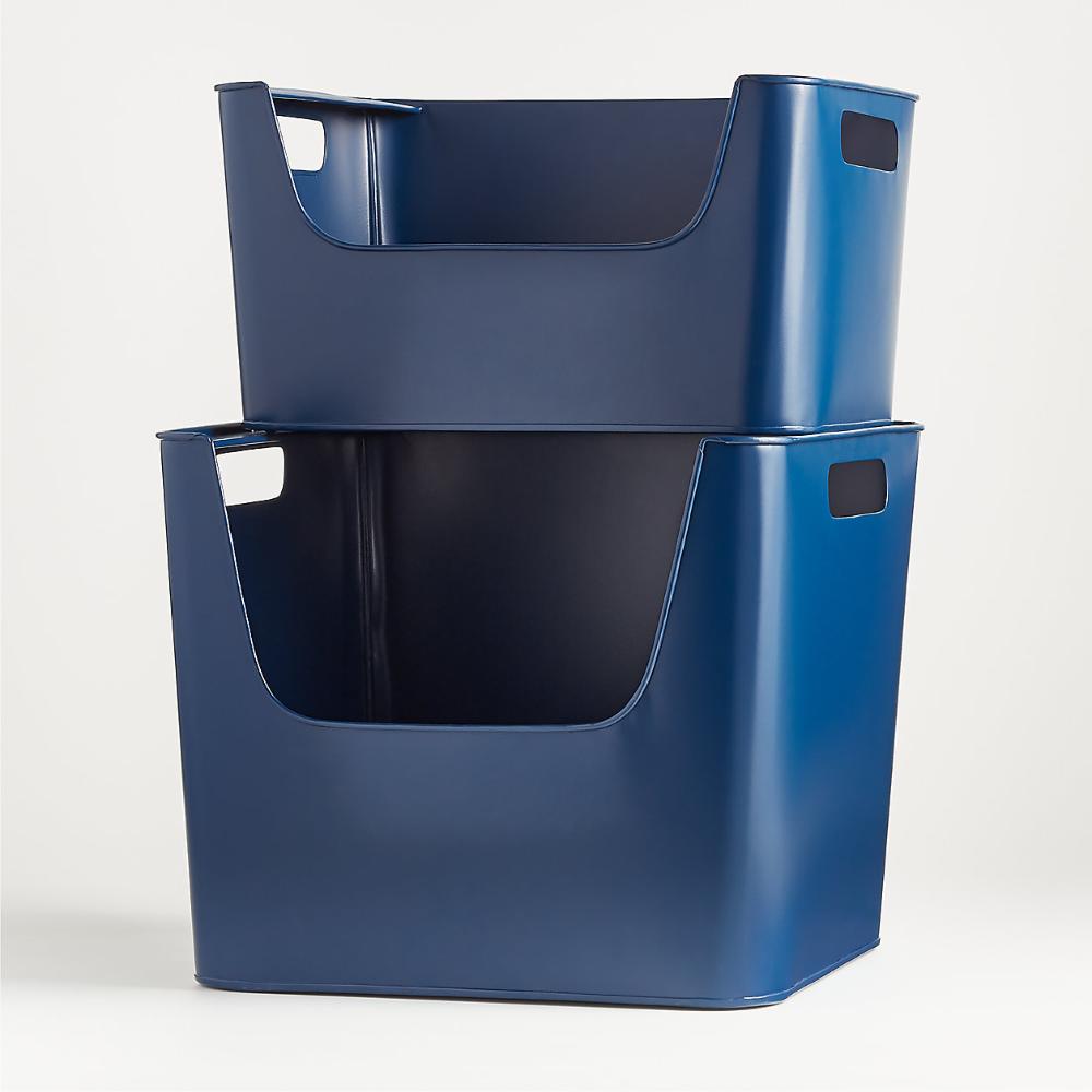Large Dark Blue Metal Stacking Storage Bin | Crate and Barrel