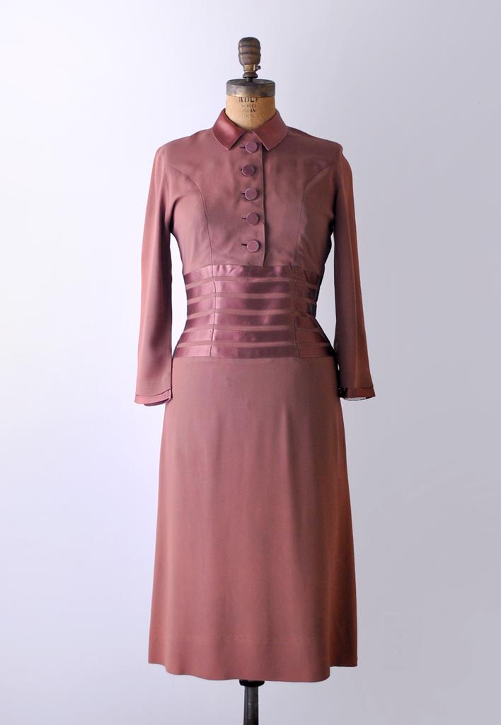 1940's Blushing Crepe & Satin Vintage Dress