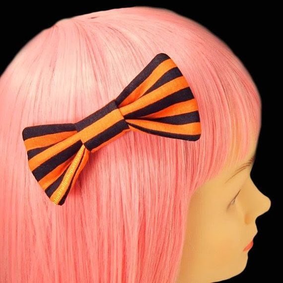 HALLOWEEN Kawaii Hair Bow Clip Barrette Pumkin Orange Black Stripes Puffy Bow