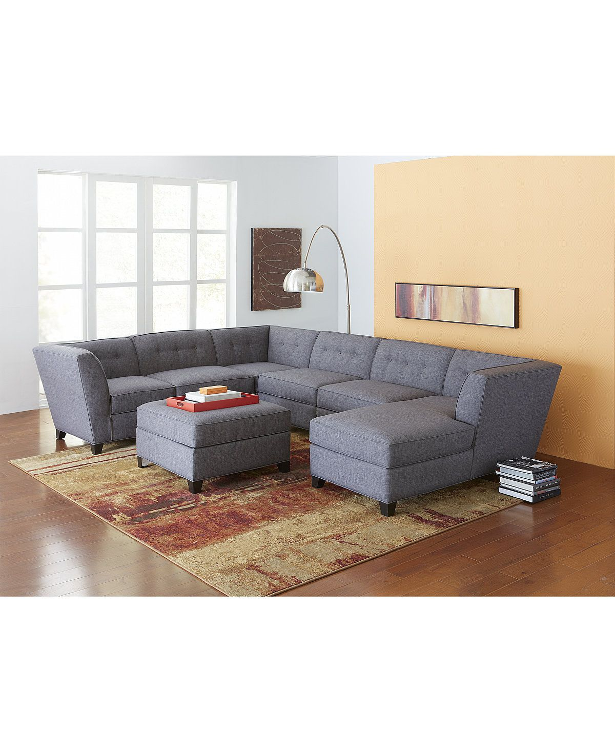 harper fabric 6 piece modular sectional sofa rv beds canada with chaise ottoman sofas furniture macy s