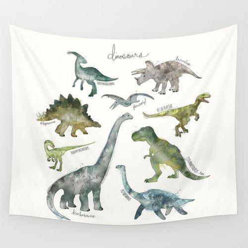 Dinosaurs Wall Tapestry by Amy Hamilton | Society6