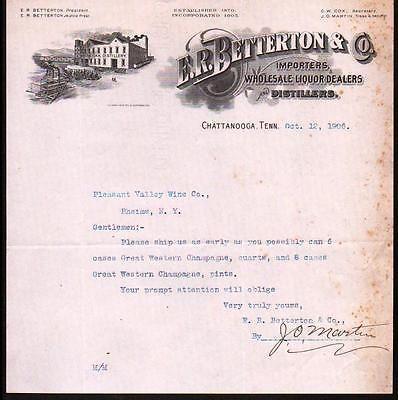 Chattanooga Tn  White Oak Distillery  R Betterton  Co  Letter
