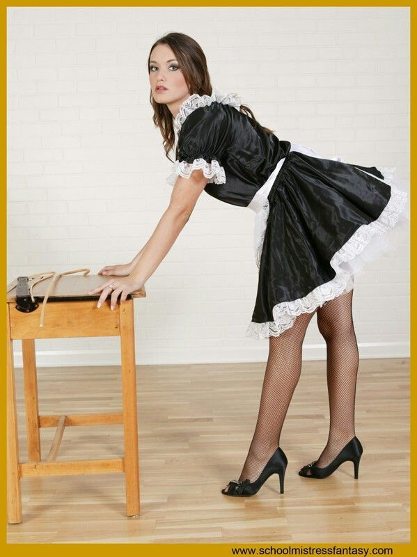 Satin French Maid Outfit Fishnet Stockings And Black High