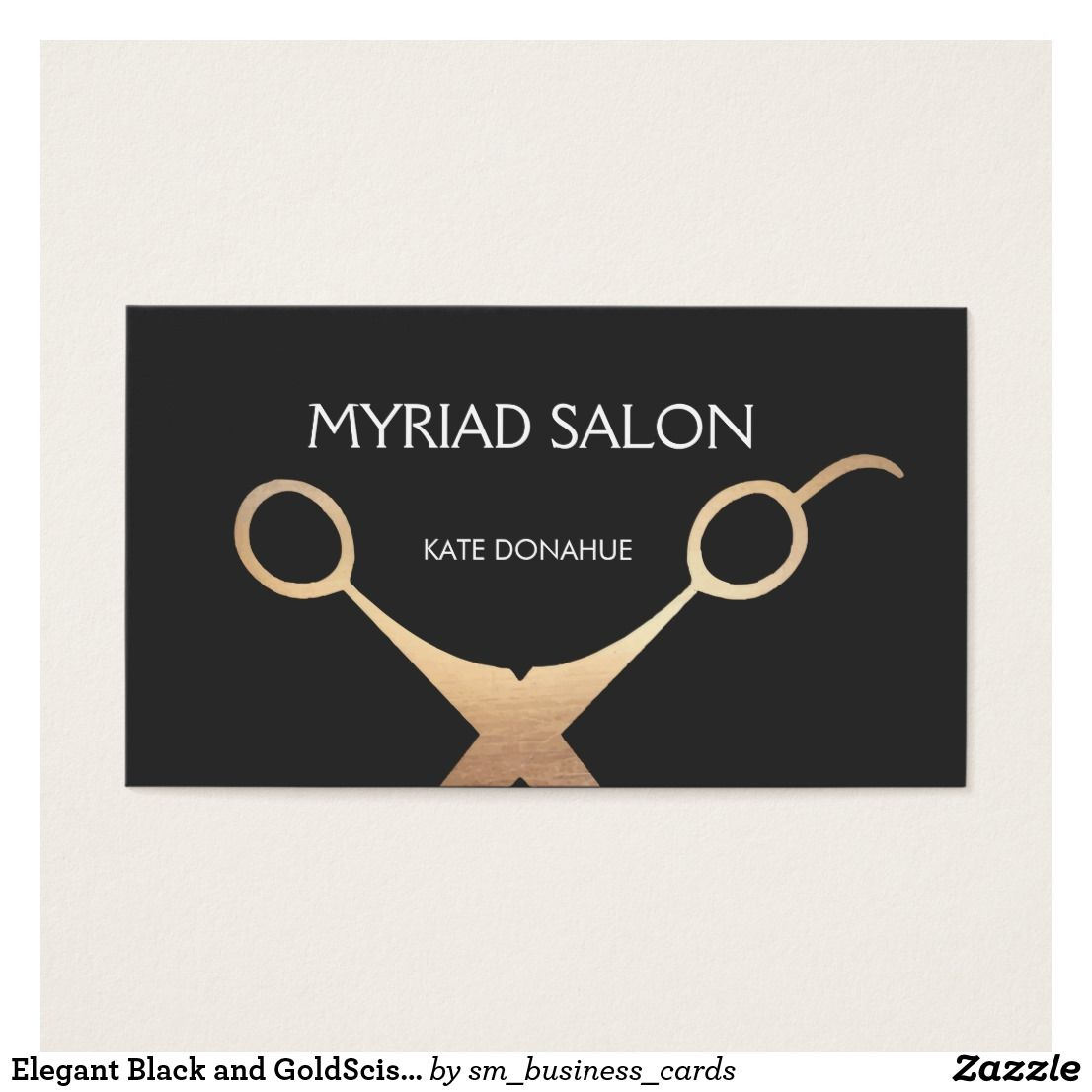 Elegant Black And Goldscissors Salon Hair Stylist Business Card Salons