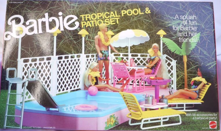 1986 Barbie Tropical Pool And Patio Set Playset