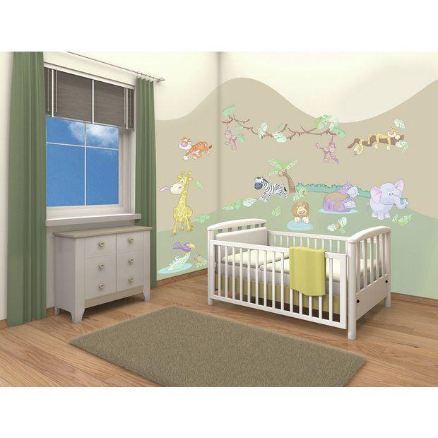 buy walltastic baby jungle safari room decor kit at argos co uk