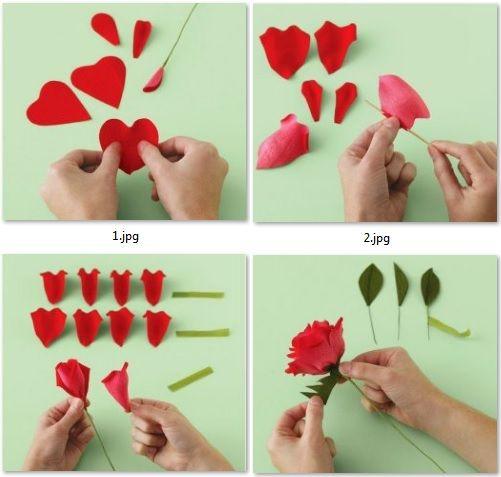 Moldes para hacer rosas de colores con papel crepe mama - Como hacer rosas de papel ...