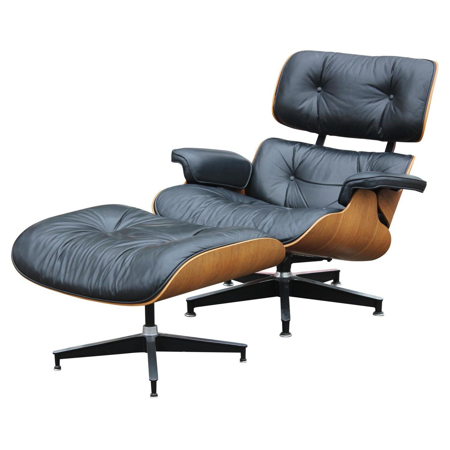 Modern Black Leather And Rosewood Herman Miller Eames Lounge Chair
