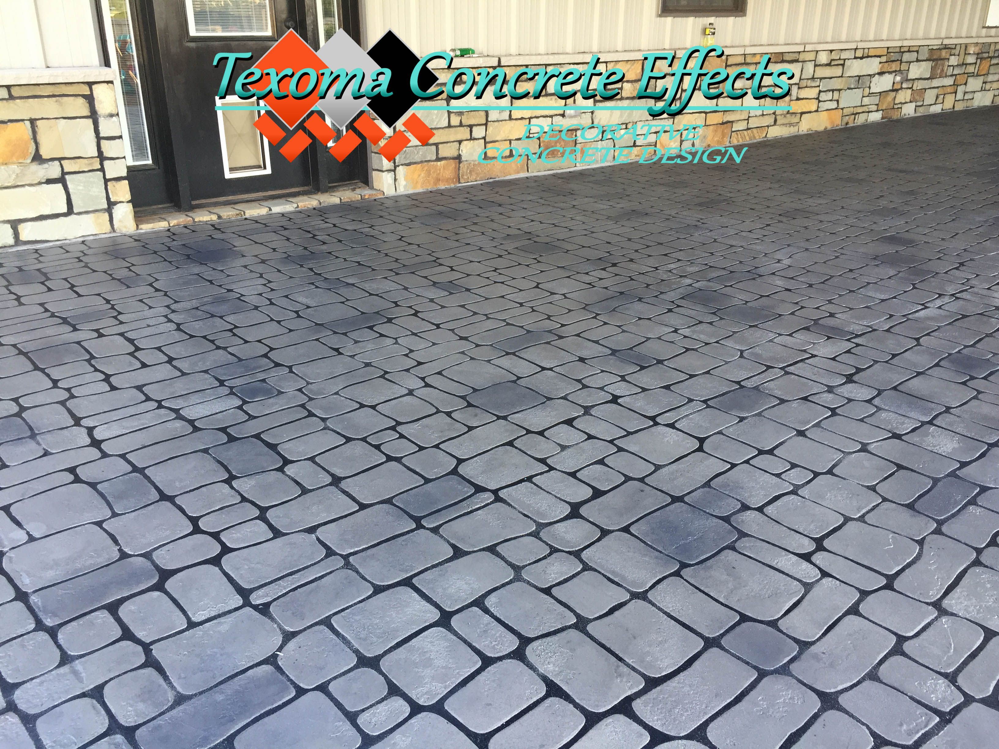 Stained Concrete Overlay Cobblestone Design By Texoma Concrete Effects Iowa Park Tx Stained Concrete Iowa Park Concrete Overlay