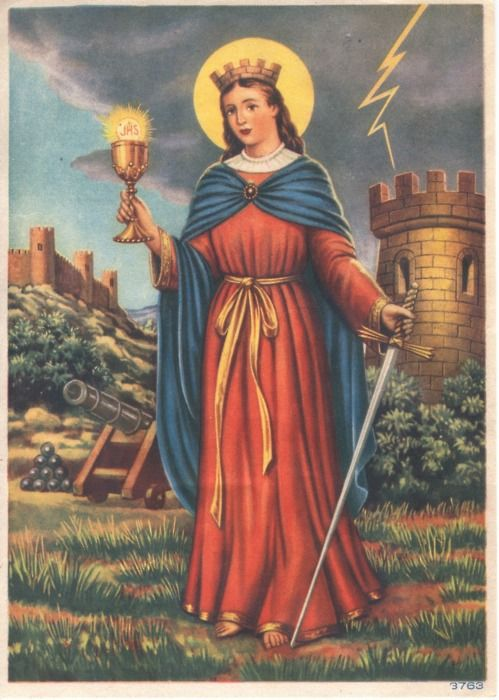 St. Barbara was born in Egypt (or Asia Minor) in the third century. Her father, a rich heathen, loved her very much and was fearful some man would marry her and take away. According to the legend, he built for her a high tower where she was jealously guarded from the world. Hearing of Christianity, she became fascinated and arranged to receive a Christian disciple disguised as a physician. She was converted and secretly baptized.