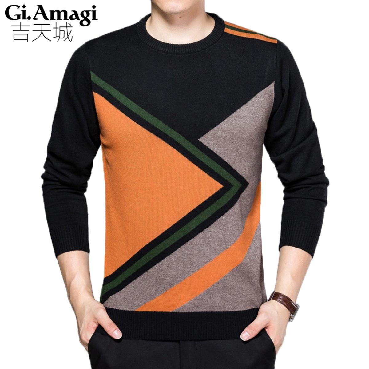 Strickpullover Men 2017 new autumn winter causal knitted striped sweater men  slim fit wool mens pullover high quality 66c0e6413f