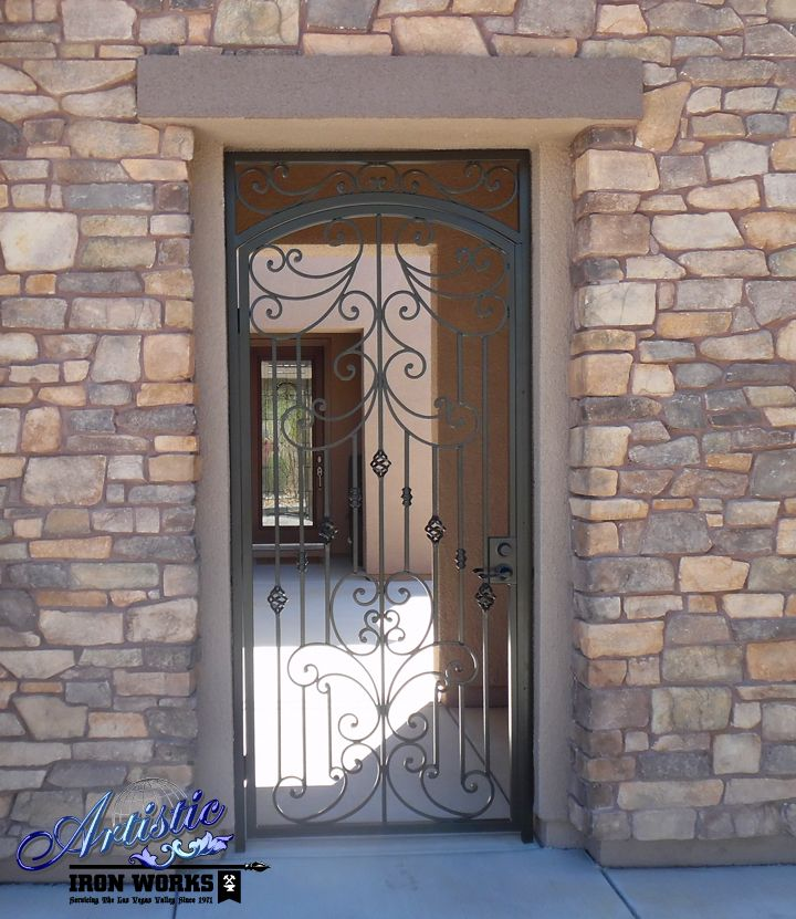 Wrought Iron Entry Gate With Scrolls And Birds Nest Wrought Iron Gates Entry Gates Iron Gates