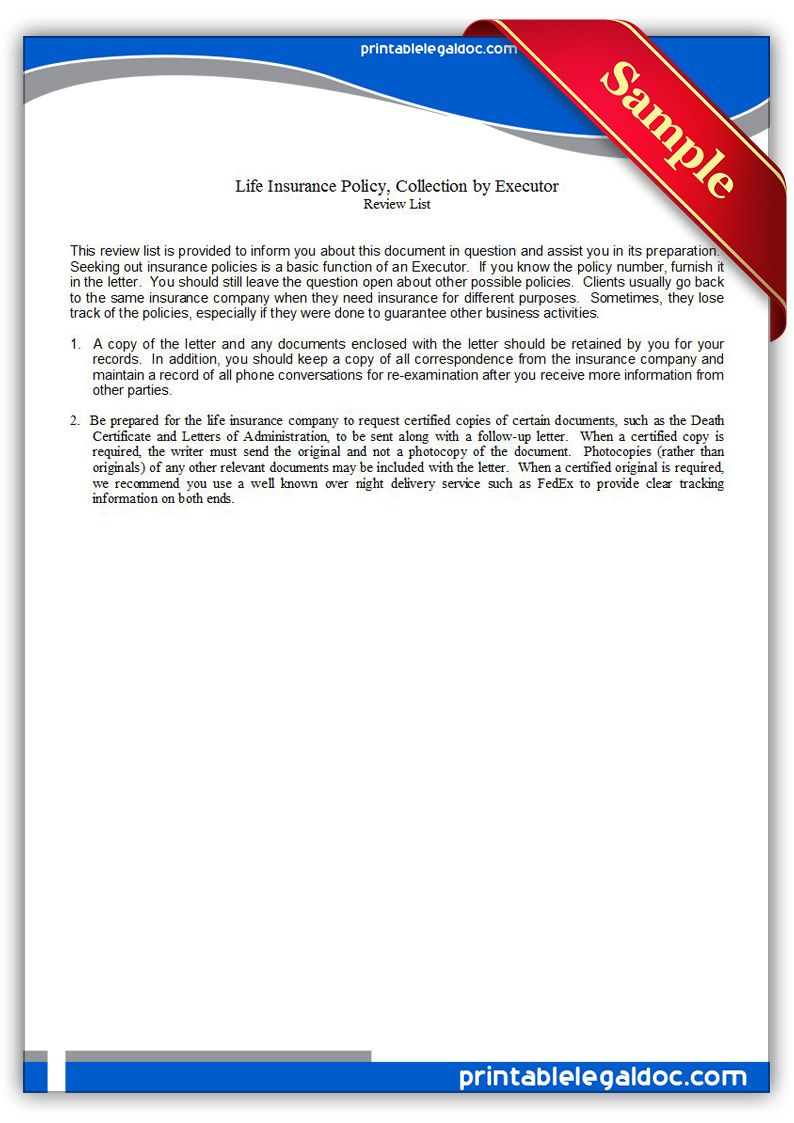 Free Printable Life Insurance Policy Collection By Executor Form