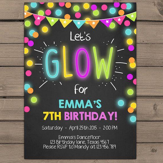 Neon Glow Party Invitation