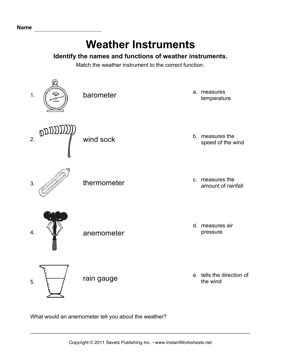 weather instruments teaching tools weather science weather instruments weather worksheets. Black Bedroom Furniture Sets. Home Design Ideas