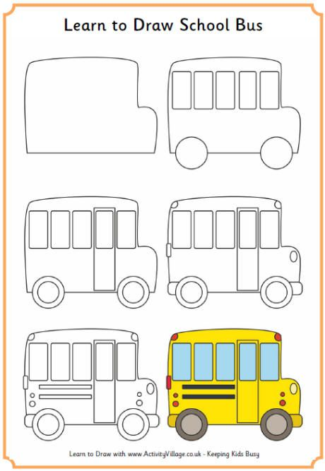 Learn To Draw A School Bus Easy Drawings Drawing For Kids Drawings