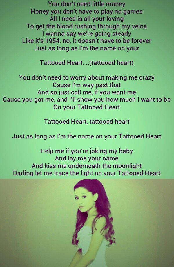 Lyric ariana grande piano lyrics : Tattooed heart - Ariana Grande I love this song! | Pretty ...