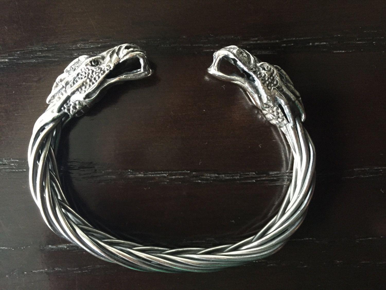 925 Sterling silver dragons bracelet handmade for men. by ARTESANOSMEX on Etsy