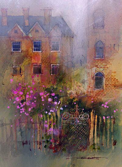 John Lovett Roses Climb The Hedges Fringe Of An English Garden