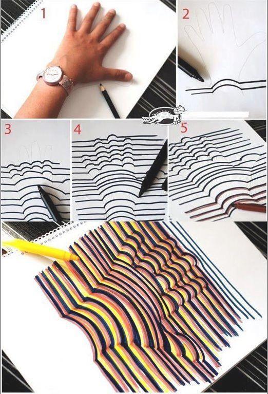 Une astuce facile pour dessiner votre main en 3d a faire - Dessin main enfant ...