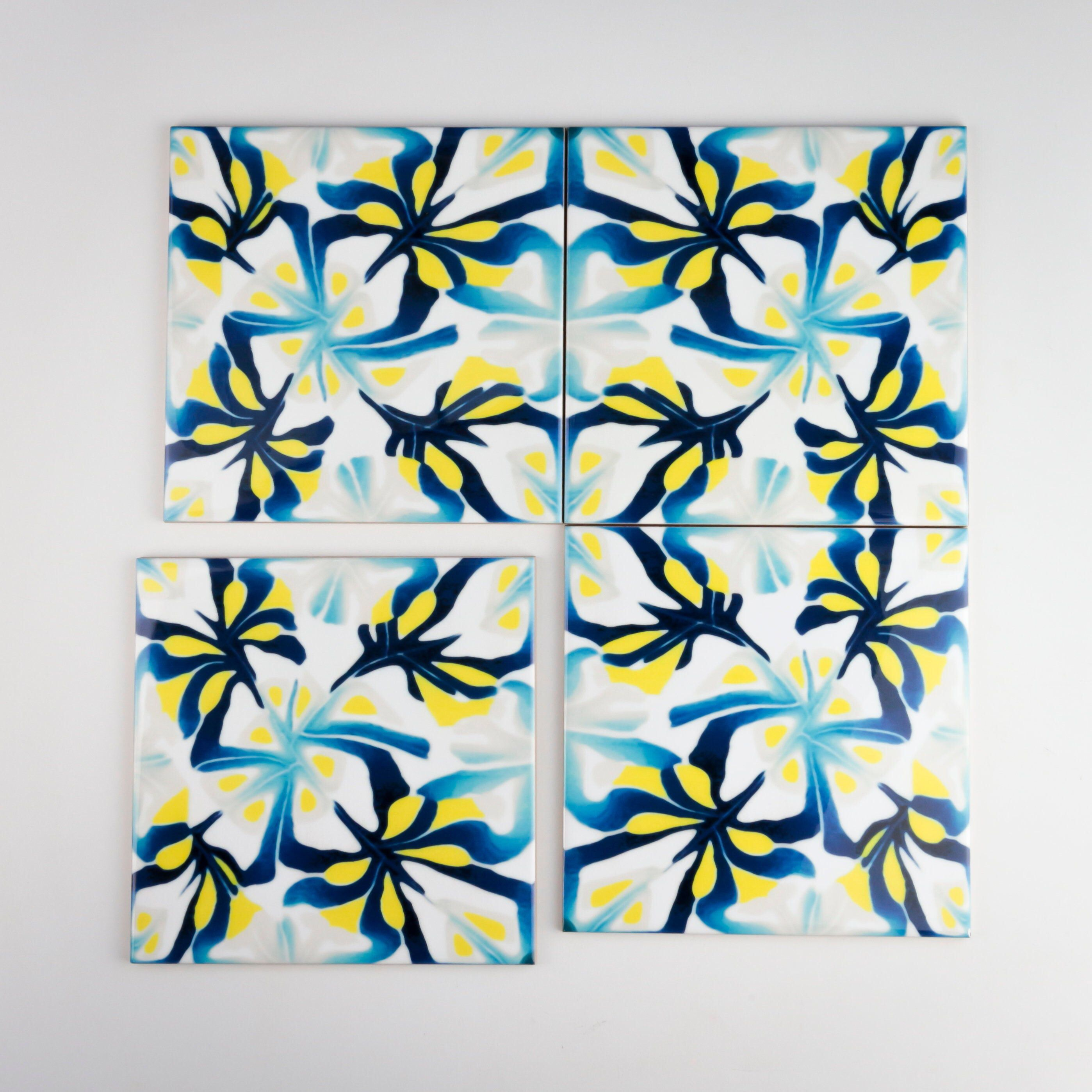 Navy Blue Yellow Grey And White Ceramic Tiles Abstract