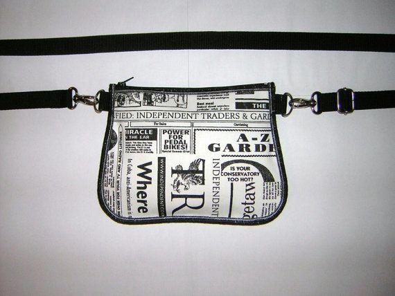Newspaper 2in1 Belt Bag Hip bag Festival Wallet small by mocsi61, $25.00