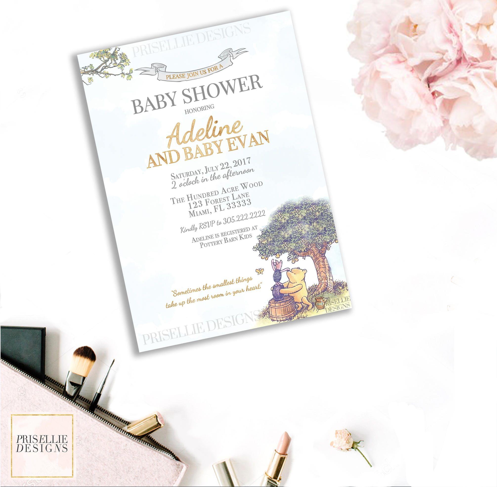 Winnie the Pooh Baby Shower Invitation, Classic Winnie the Pooh Baby ...