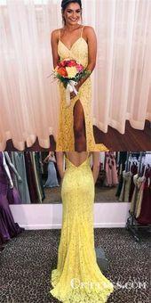 elegante gelbe spitze lange billige abendkleider mit schlitz typ1727 in 2020  prom dresses