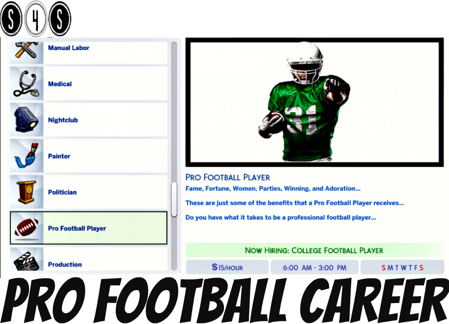 Pro Football Career By Sims4sisters Sims 4 Jobs Sims 4 Traits