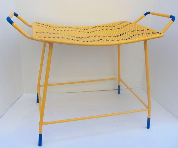 Remarkable Vanity Bench Yellow Stool Chevron Seat Chair Blue Vintage Ibusinesslaw Wood Chair Design Ideas Ibusinesslaworg