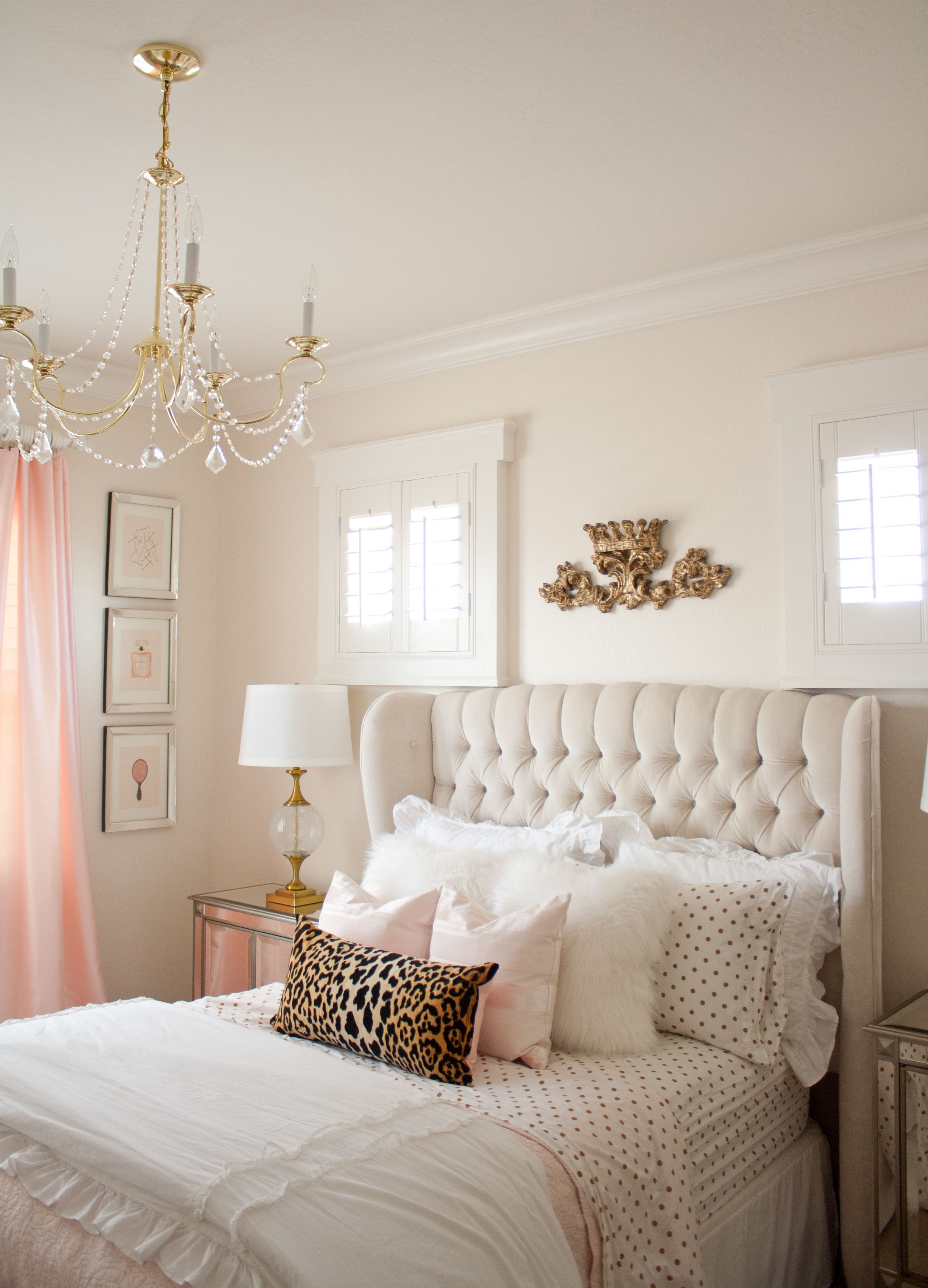Pink and gold bedroom by Randi Garrett Design with gold polka dot